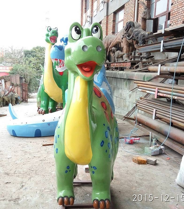 Fiberglass Life Size Outdoor Cute Cartoon Dinosaur