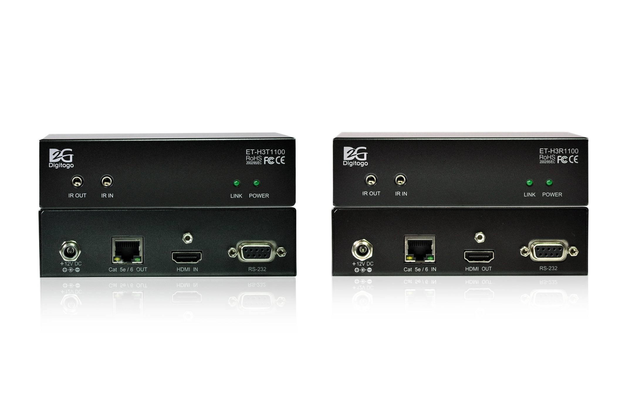 [ET-H3T/R1100] HDBaseT 100m Extender Set w/ Bi-directional RS-232 & IR,support 4K Ultra HD
