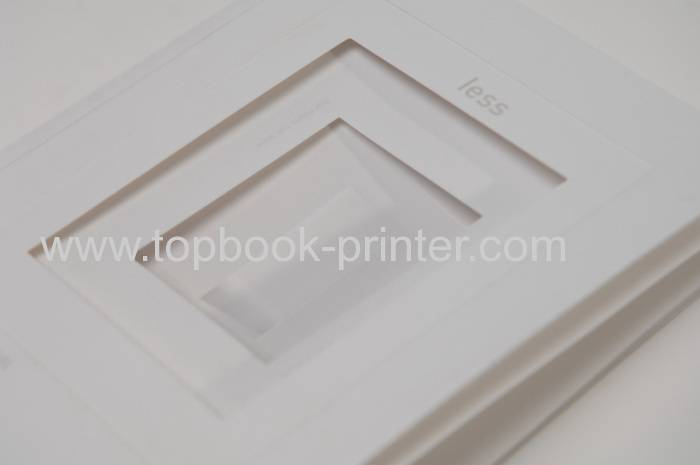 Landscape die cut gold stamping cover design soft cover book with die-cut window printing on demand