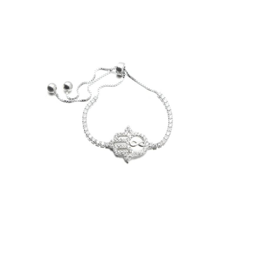 Adjustable Sterling Silver Tennis Bracelet with Hamsa Hand Charm