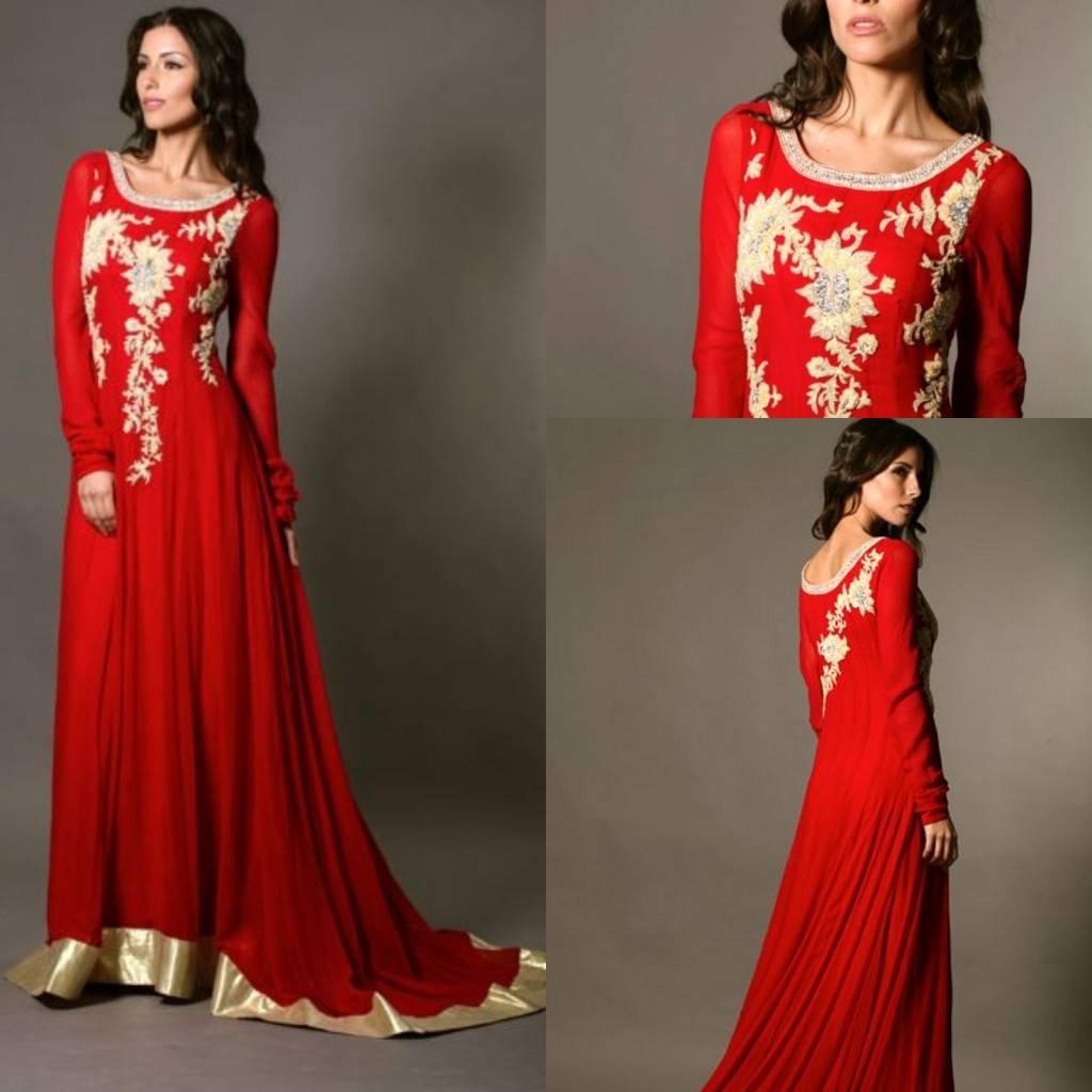 2014 Red Chiffon Embroidery A line Scoop Arabic Kaftan Dubai Long Sleeve Floor Length Court Train Lo