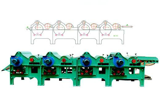 GM250 four cylinder textile waste recycling machine