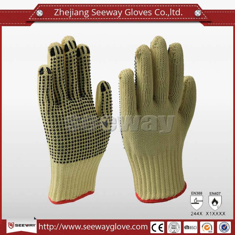 SeeWay B503 Nonslip PARA-Aramid Cut Resistant Gloves PVC Dotted Safety Working Glove