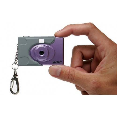 3-in-1 Mini Digital Camera with Keyring and Flashlight (Purple)