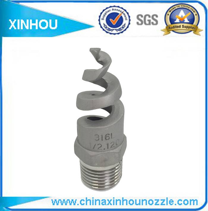 Exhaust gas filtration firefighting spiral nozzle
