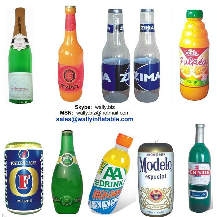 inflatable champagne beer bottle, inflatable can, inflatable juice box for promotion