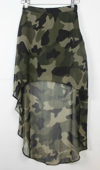 Ladies polyester georgette camouflage print high-low skirt