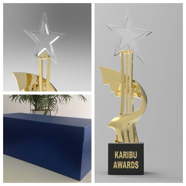 Diecast Metal Trophy with Crystal Star