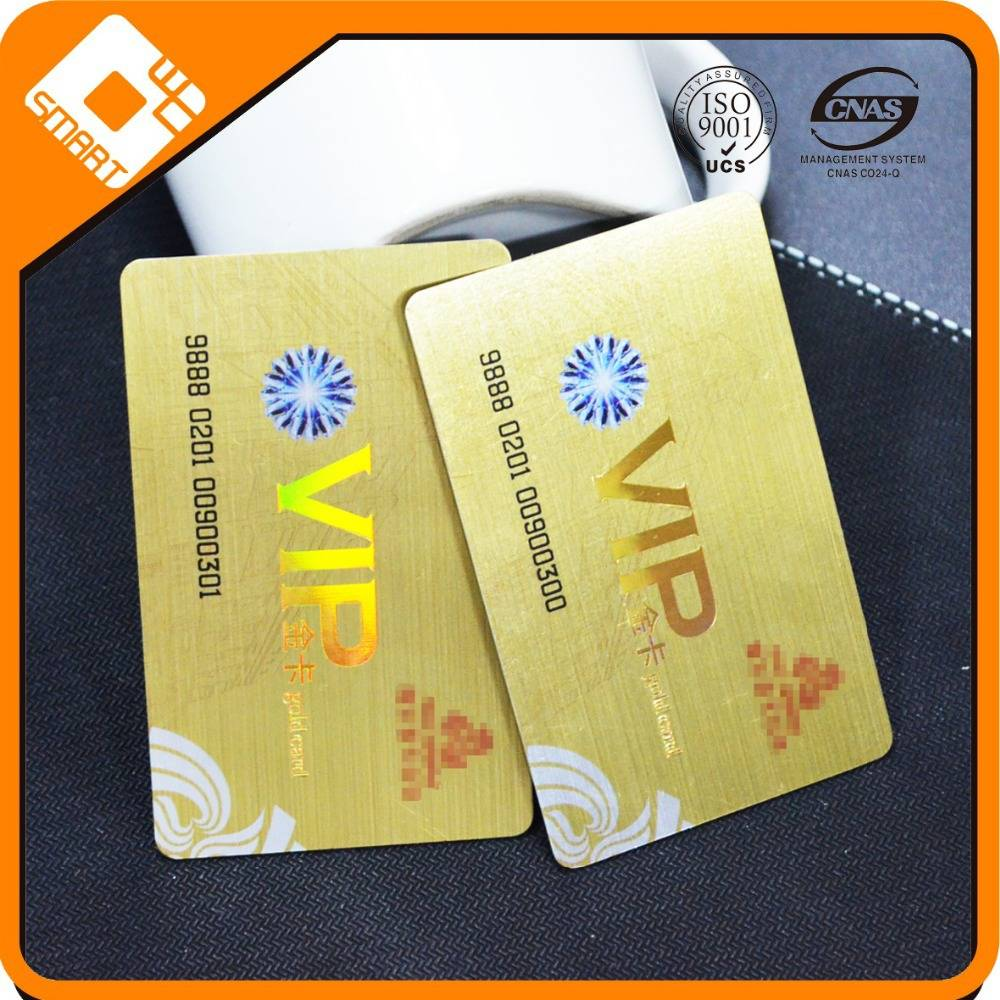 Gold Foil Plastic Card with Embossing Number