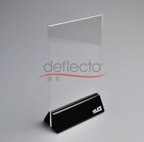 Deflect-o Sign Holder/Menu Holder ,142* 61*256(mm),clear and black acrylic with screen printing