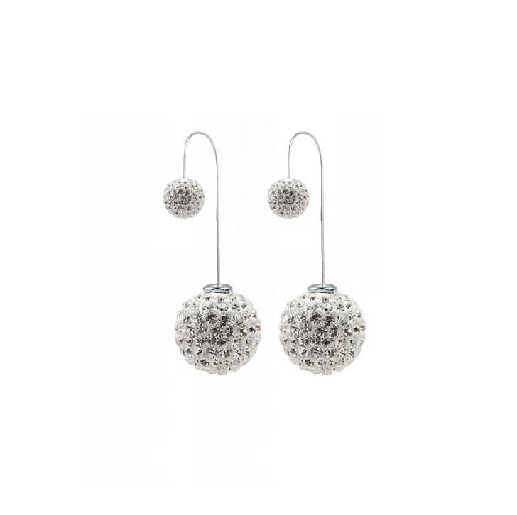 Double Crystal Ball Drop Dangle Earring Ear Stud
