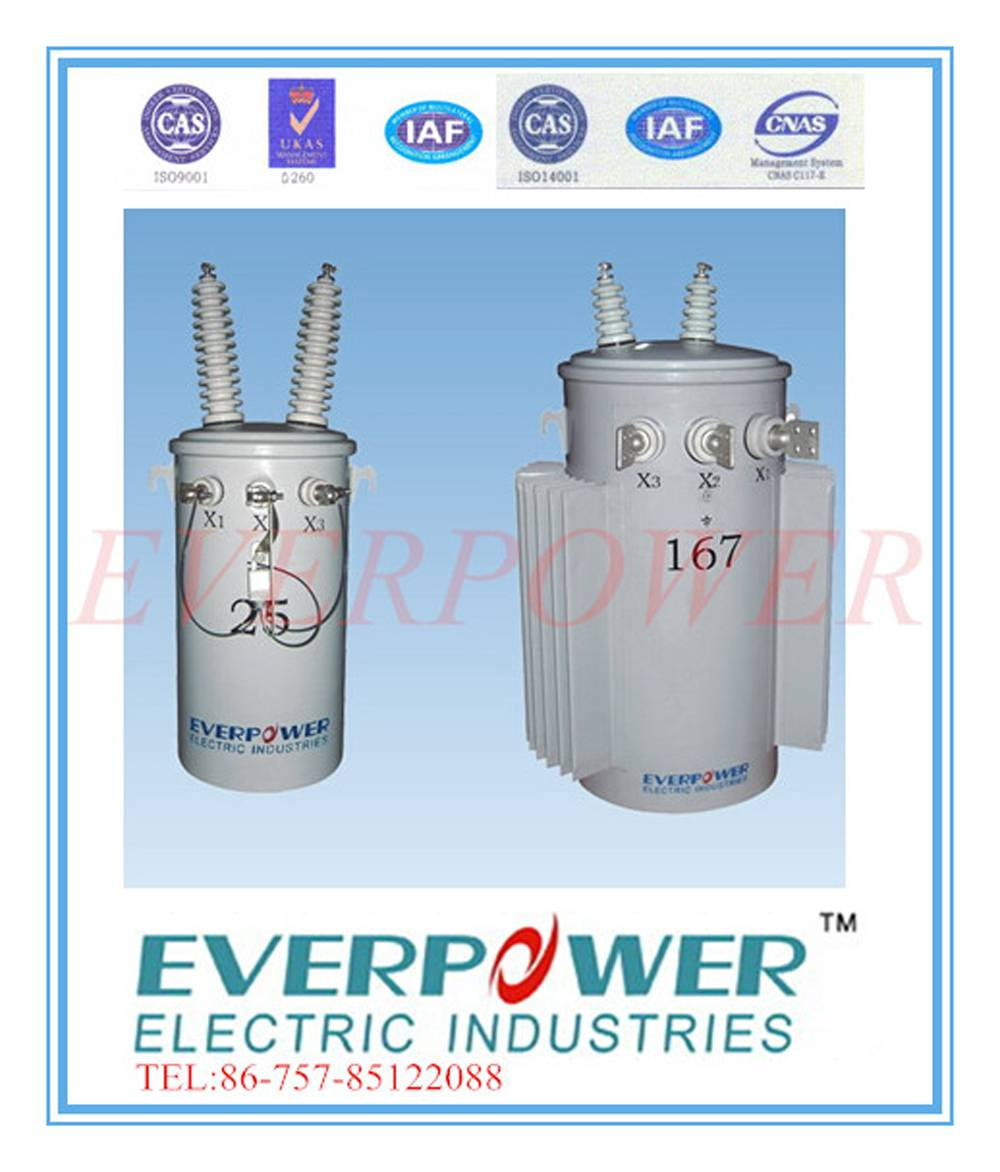 Single phase mineral-oil filled overhead distribution transformer