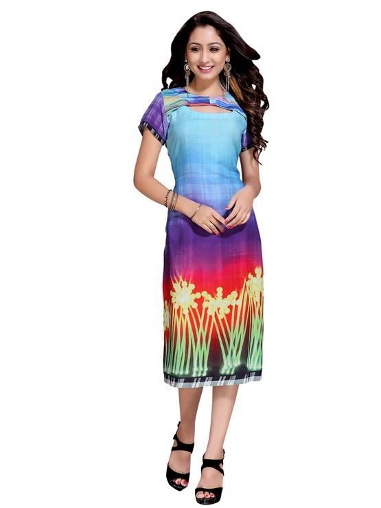 Rayon multicolour colour  Embroidered kurti  VTVIC-034