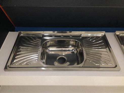 1m length single bowl stainless steel sink with drainboard WY-10050C