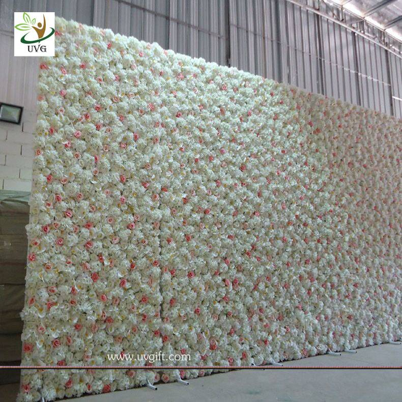 UVG White flower wall backdrop with silk rose and hydrangea for wedding stage decoration