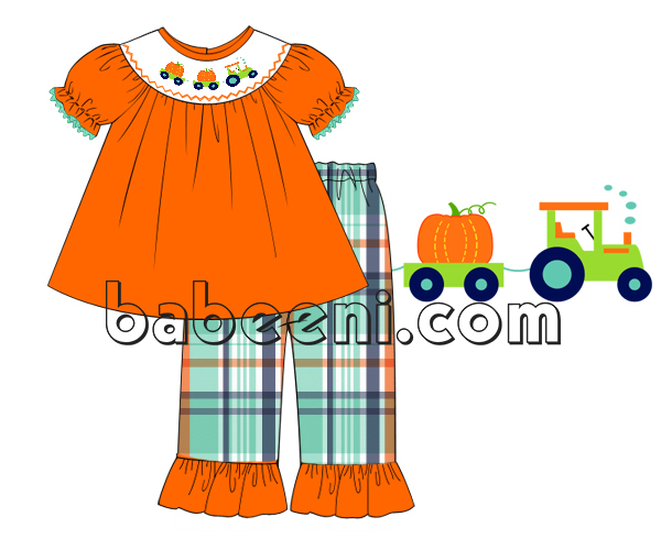 Pumpkin truck smocked outfit for girl - DR 2512