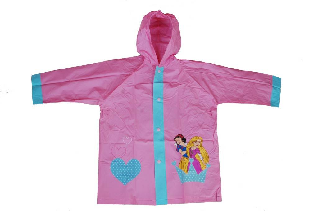 R-1021-1005-4 DISNEY PRINCESS PINK PVC VINYL KIDS BEST RAIN JACKET