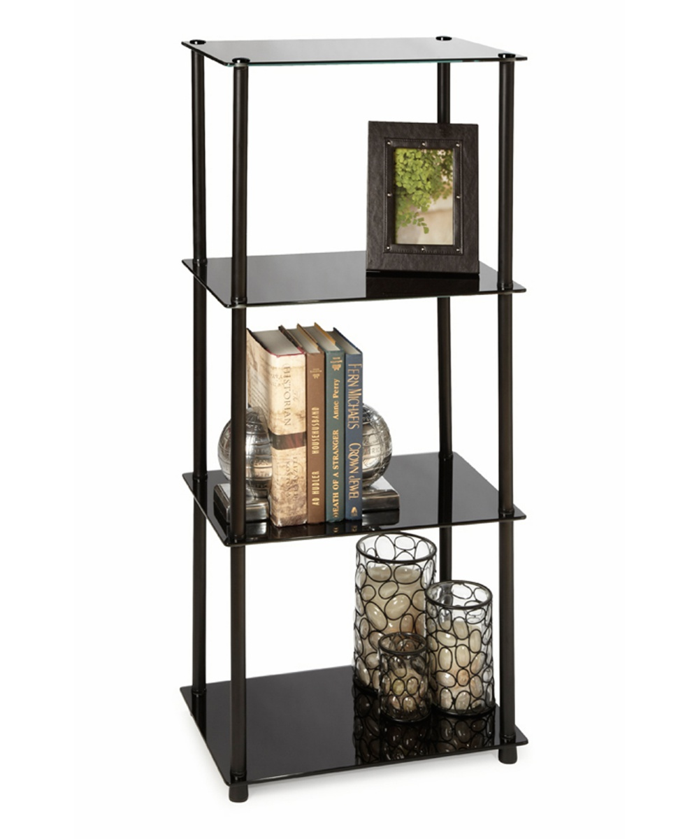 Convenience Concepts Black Classic Glass 4-Tier Tower