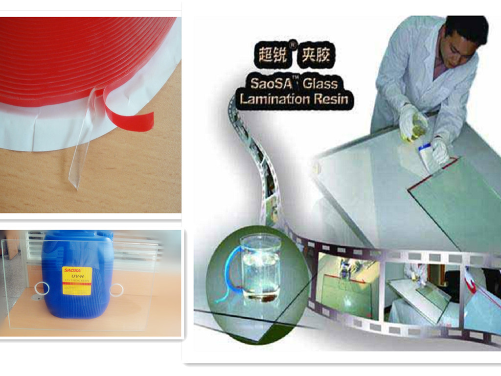 SAOSA UV cured resin for the laminated glass manufacturers , safety glazing suppliers