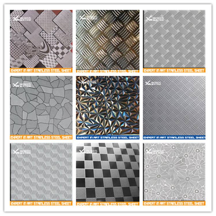 embossed surface finish 4*8 color stainless steel sheet price 304