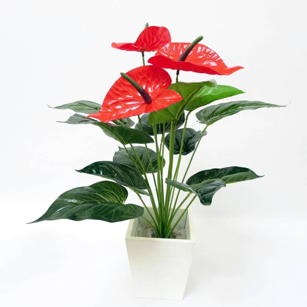 3 head artificial flower Handfeeling Anthurium