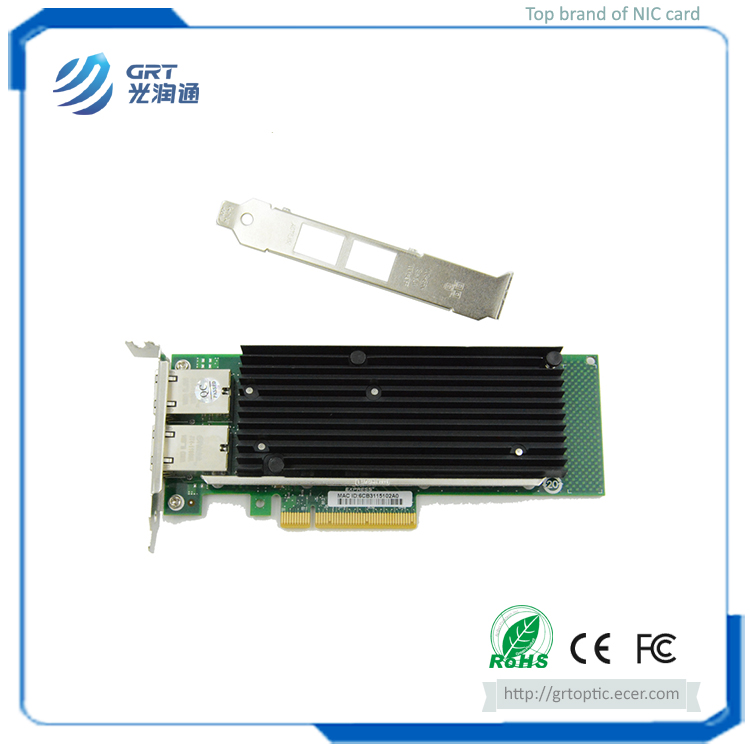 F1002T PCIe 10G 2-Port RJ45 Intel X540 Fibre Optic NIC Network Card for Server Switch