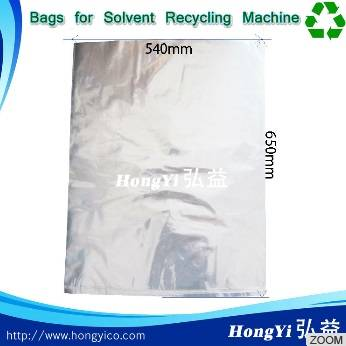 Solvent recycling bags resistant to elevated temperatures