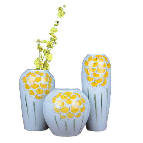 Glazed Decorative Ceramic Vases Set of 3
