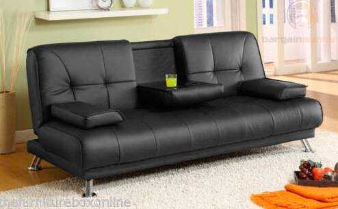 2015 New-designed black PU leather sofa bed(ST-119-2)