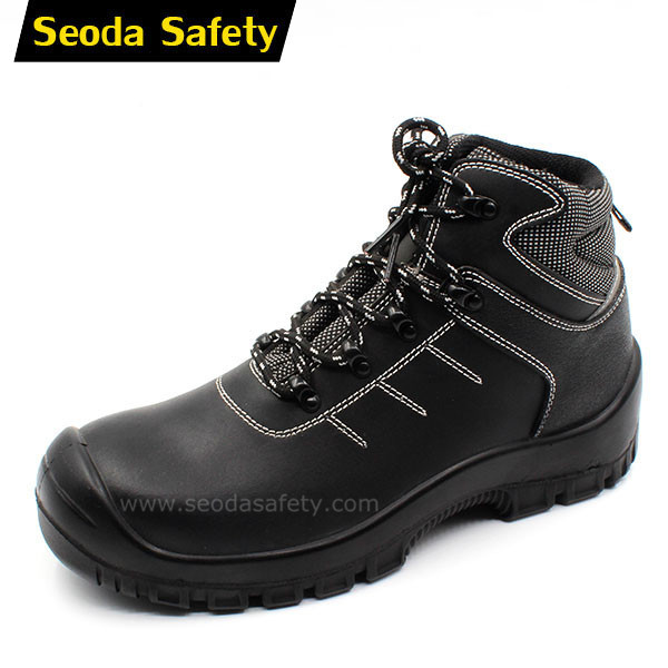 PU injection genuine leather safety shoes