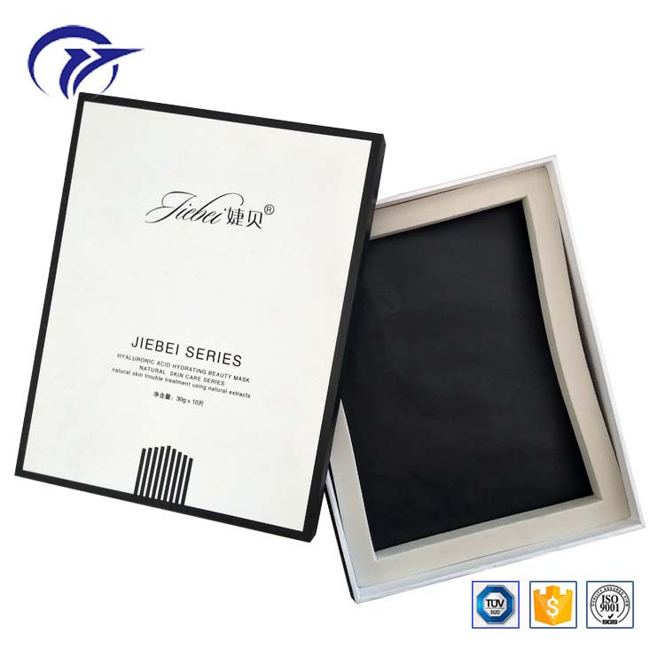 Customized design high quality facial mask packaging handmade two piece type paper box