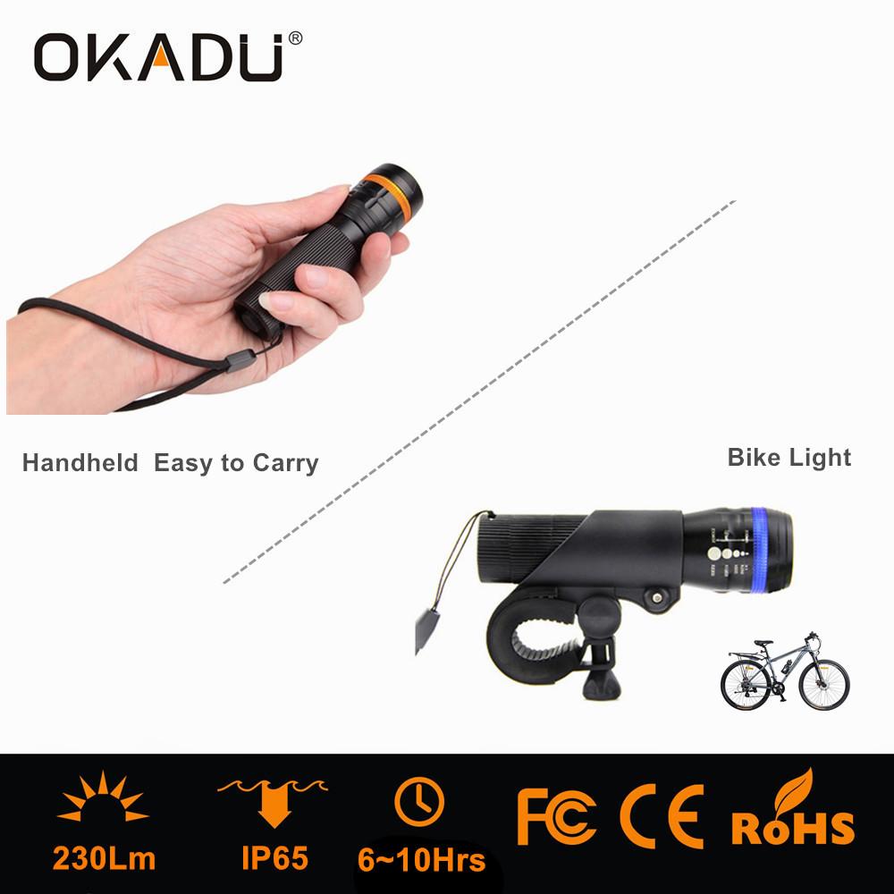 OKADU ZQ02 18650 Battery Led Flashlight Cree Q5 Led Zoom Torch Mini Bike Flashlight LED Bike Light