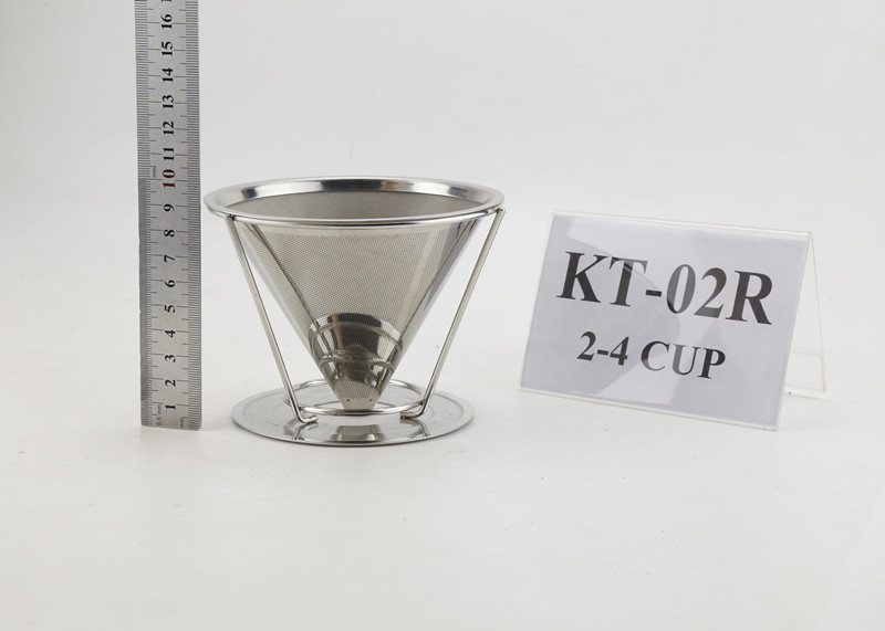 Paperless reusable stainless steel coffee dripper for 2-4cups