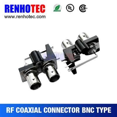 Right Angle Two BNC Female Connectors In One Row