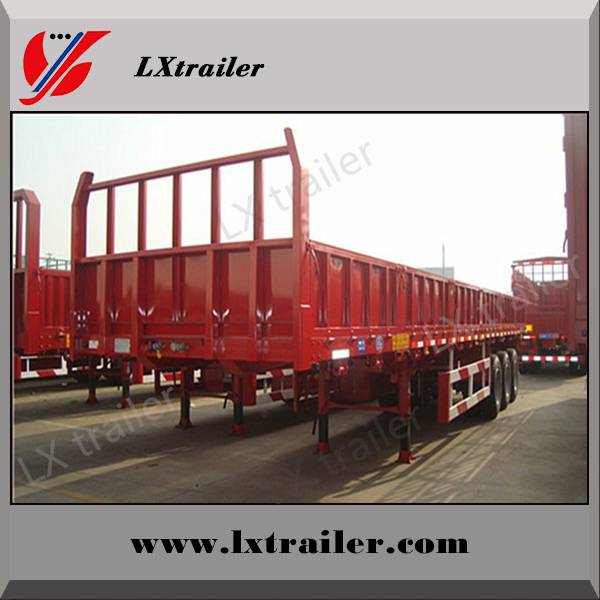 Removable container dropside flatbed semi trailer