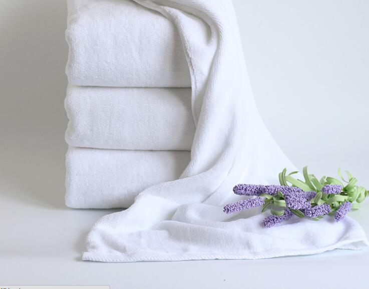 100% Cotton 70140cm 32S/2 500G White Bath Towel