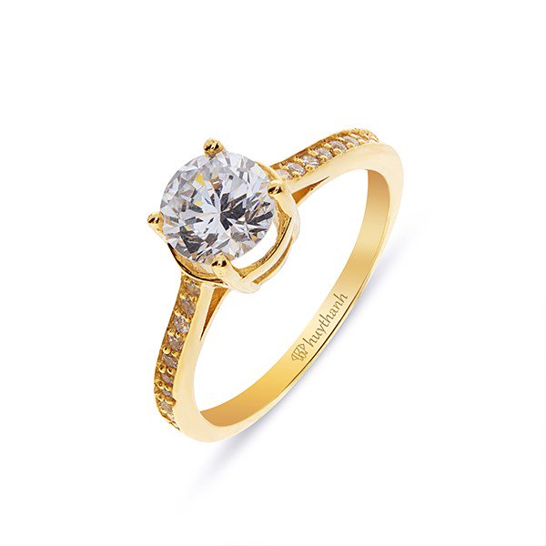 GOLD ENGAGEMENT RINGS WITH CUBIC ZIRCONIA - HTJ BRAND - VIETNAM JEWELRY MANUFACTURER