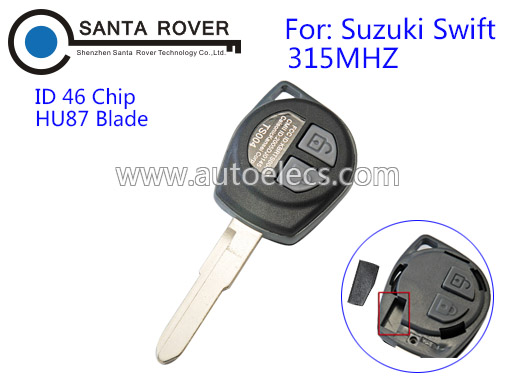 Remote Key Fit for Suzuki Swift 2 Button Car Key Blank Fob HU87 Blade ID 46 Chip 315Mhz