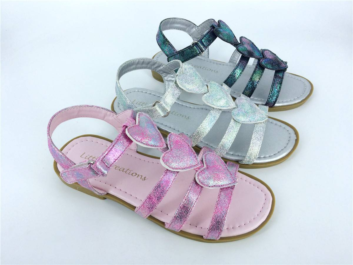 Children's Heart-shaped Flat Sandals