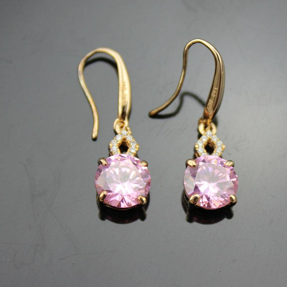 18k Rose Gold Plated with Pink CZ Earrings (PSJ0163)