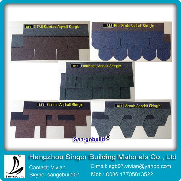 5 kinds of asphalt shingles for building roofing tiles from china