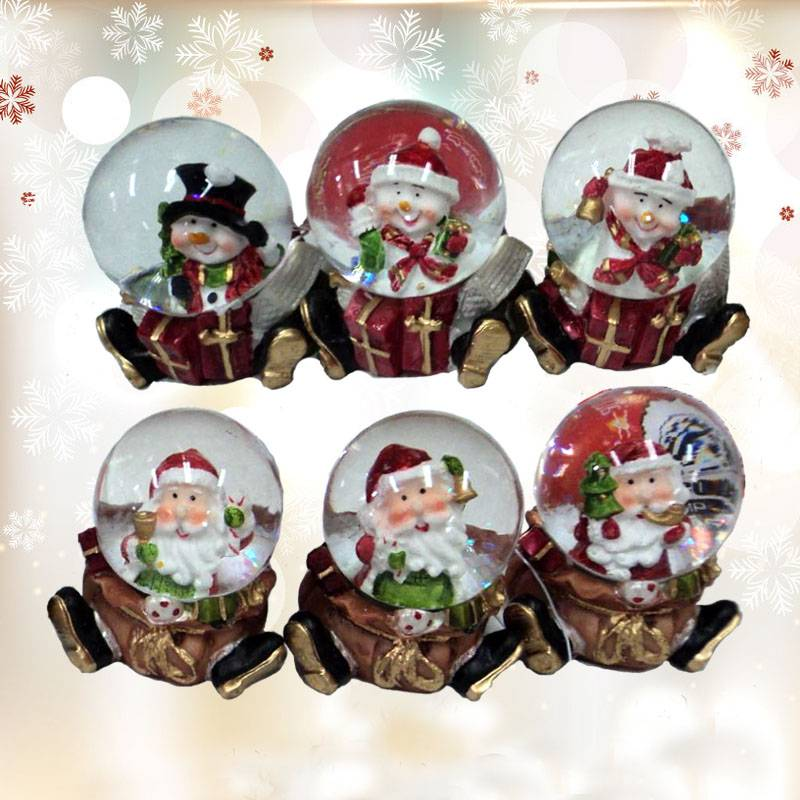 Christmas water globe with santa and snowman in