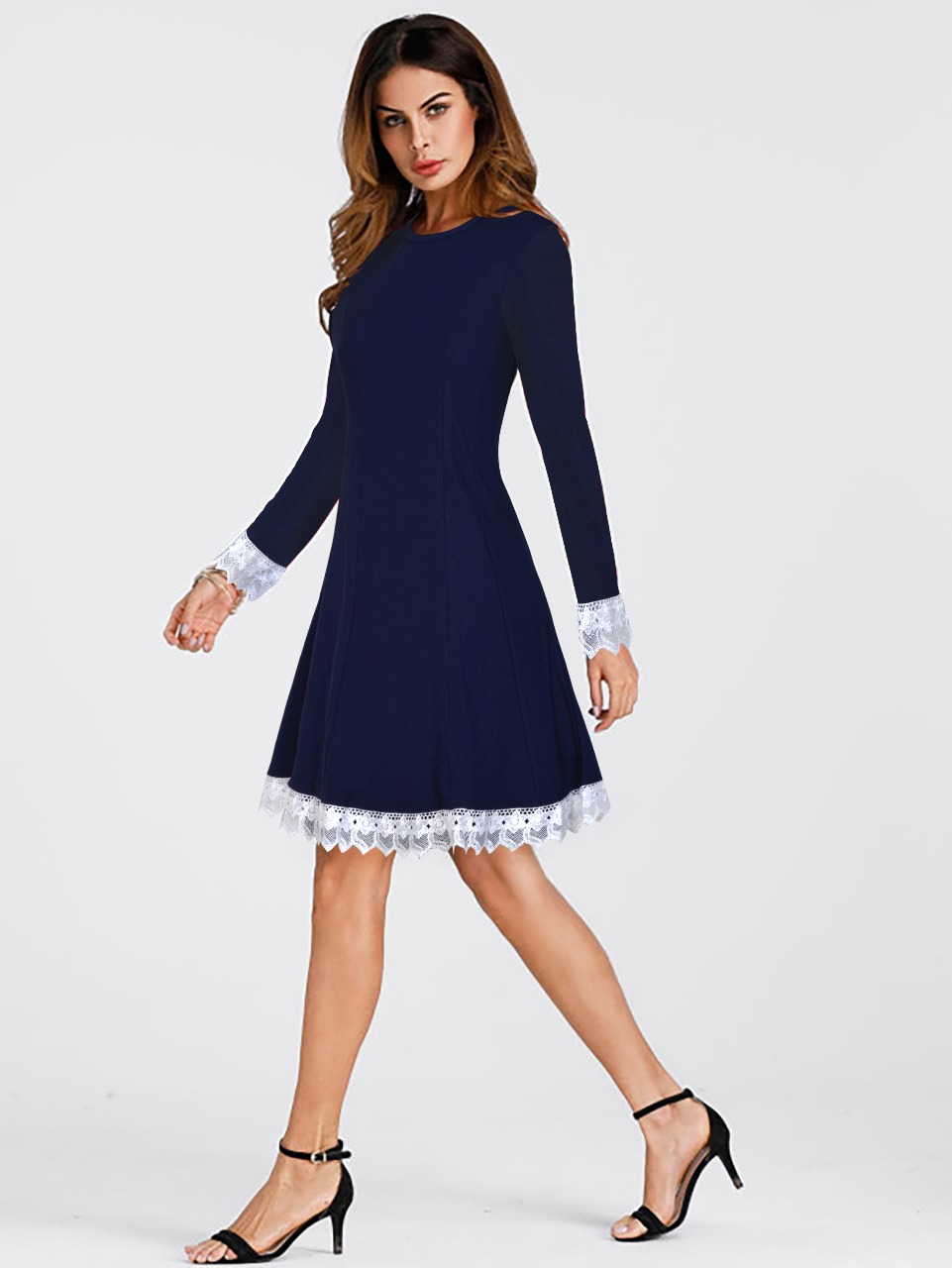 Navy Blue Lacy Slim Fit Dress
