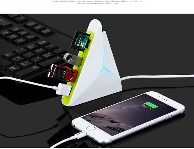 sandwich shape HUB with 3 usb ports,1 sd and tf card slot