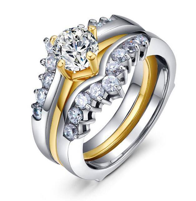 New Style WHOLESALE Women's Stainless Steel Princess Cut AAA CZ Wedding Ring Set Size 5,6,7,8,9,10