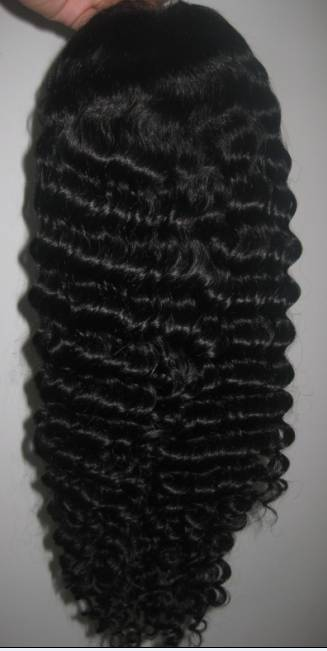 "Full lace wig, Indian human hair 16"" color #1B Water Wave"