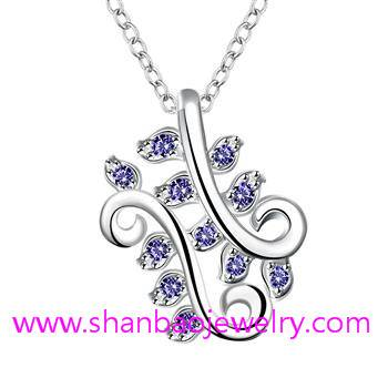Silver Plated Costume Fashion Zircon Jewelry Woman Necklaces
