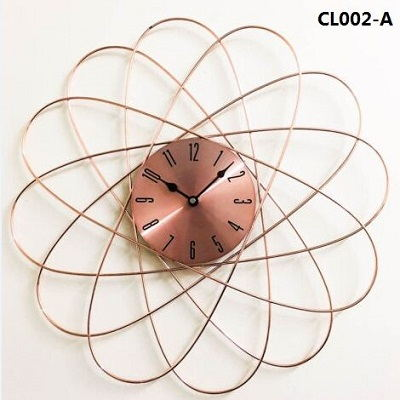 New Design Beautiful Metal Large Size Copper Tone Geometric Spikes Wall Clock