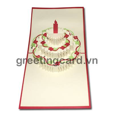 Birthday cake 3D pop up greeting card