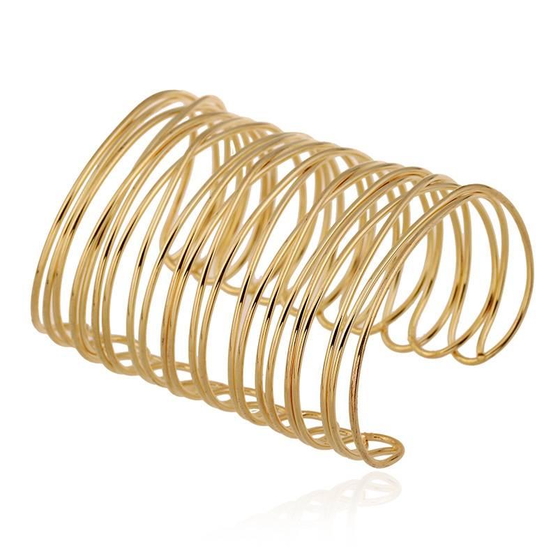 Women Gold Wide Open Bangle Cuff Bracelet